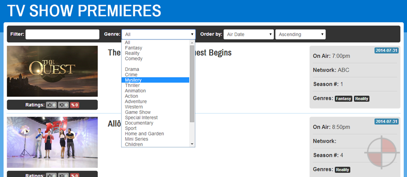 Simple web application that allows its users to view, search and filter TV Show Premieres for the next 30 days.