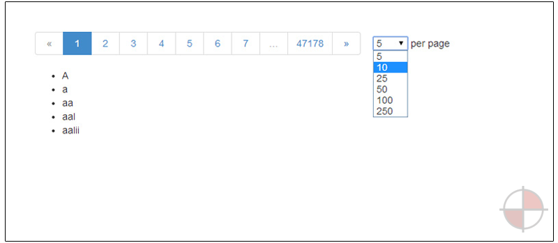 Provides a pagination user interface that triggers updates to the variable through paginated AJAX requests.
