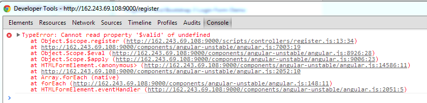 Angularjs Cannot read property '$valid' of undefined | AngularJS 4U