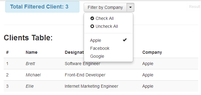 AngularJS Drop Down Filter Example