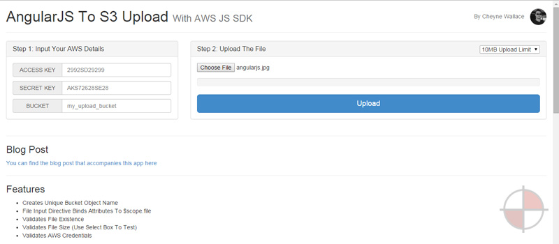 Upload a large file to Amazon S3 using the AWS-JS-SDK with an AngularJS application.
