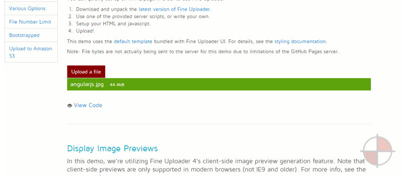 This GitHub repo has code examples for uploading images using Fine Uploader with AngularJS+node.js