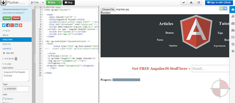 This demo uses a HTML5 fileReader angular module and ngFileSelect directive to upload your images.