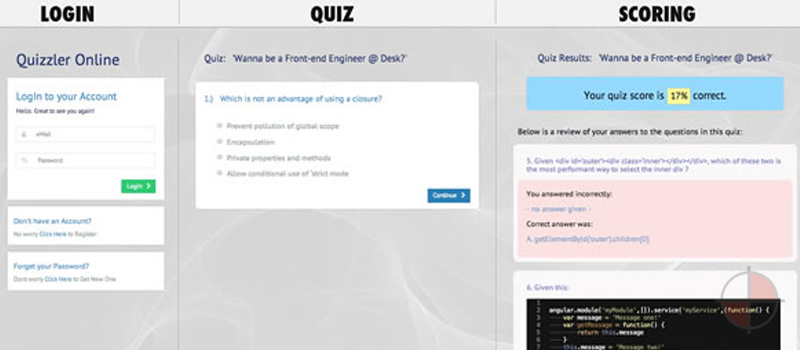 Pretty extensive ng application which has full login to quiz (demo user: test@test.com pass: test).