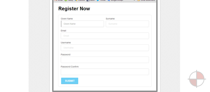 Basic registration form using AngularJS for the form controls and validation and SemanticUI for the HTML markup and look and feel.