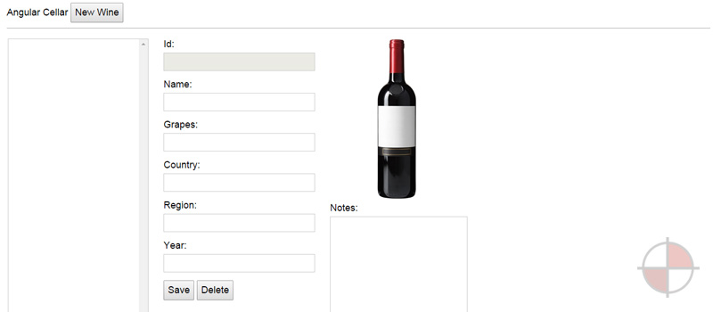 Sample Angular.js application (Wine Cellar Management App) by Christophe Coenraets. He's provided some excellent sample applications in the past and this one, although a couple of years old is still really useful for those trying to understand how AngularJS apps work with CRUD.