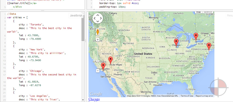A simple jsfiddle example of embedding a google map with markers.