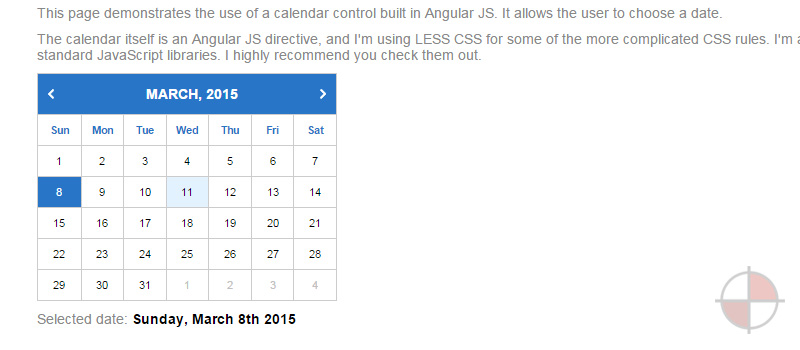 This intermediate AngularJS mini tutorial is part 1 of a 5 part series with each teaching you how to build something you can use on your web page. This tutorial will teach you how to make a calendar using AngularJS directives among other tools.