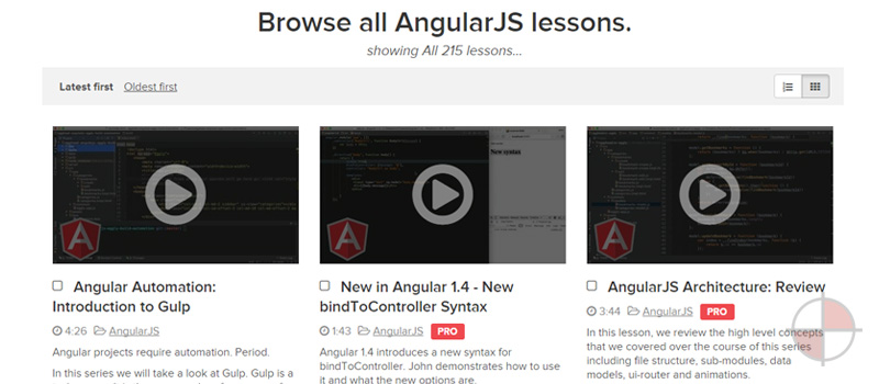 Egghead currently has 213 video lessons for AngularJS. Everything from architecture, directives, controllers, services to chrome dev tools and workflows. Some lessons are free and some you need to subscribe.