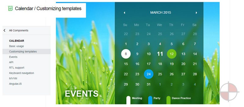 "The Kendo UI Calendar widget renders a graphical calendar that supports navigation and selection. It also supports custom templates for its ""month"" view and configuration options for minimum and maximum date, start view and the depth of the navigation."