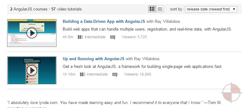 Lynda currently has 57 video tutorials for AngularJS and 2 courses. These video tutorials are very lengthy and would suit those who want to watch everything that is being done to develop with AngularJS.