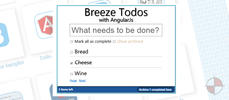 This is an example of using BreezeJS with AngularJS to produce a simple todo app. BreezeJS provides the model and data access to AngularJS which manages the presentation layer and bindings.