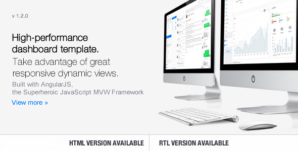 Clip-Two is an advanced, responsive dashboard template built with AngularJS, the Superheroic JavaScript MVW Framework.