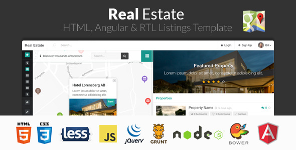 Real Estate is a premium property listing HTML template with specialised features for the real estate industry such as custom google maps