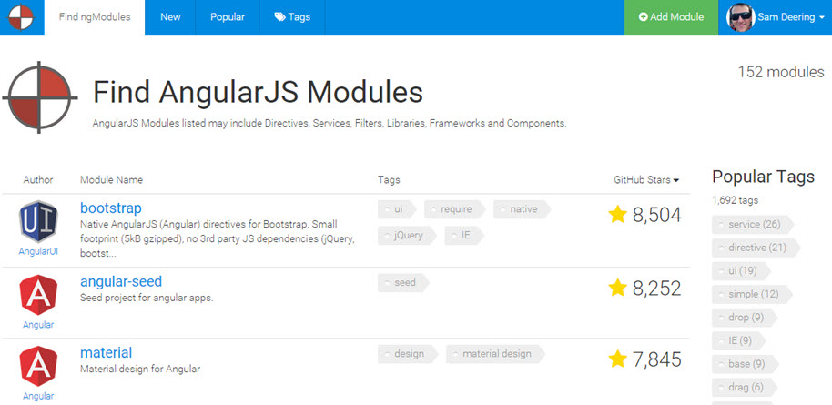 Find AngularJS Modules