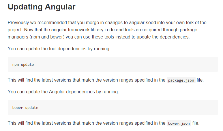 updating angular using npm or bower