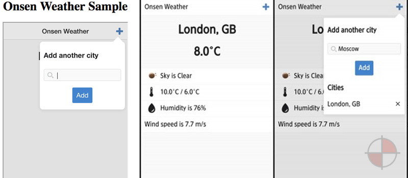 AngularJS Weather App using Onsen UI