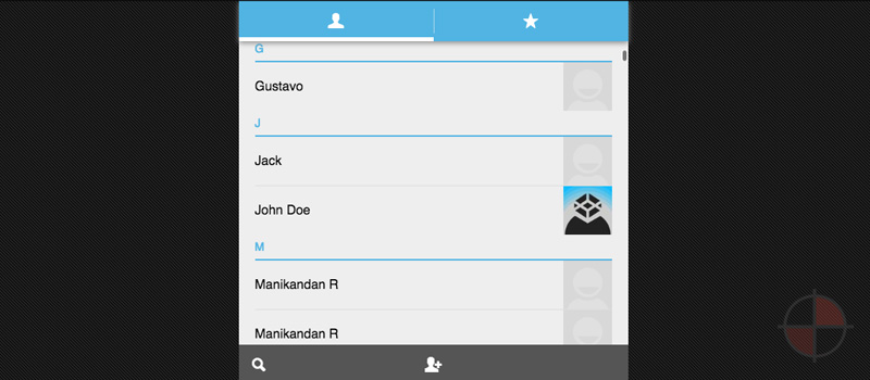 Android Address Book replica with AngularJs