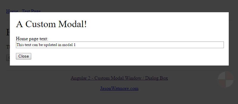 Angular 2-4 - Custom Modal Window