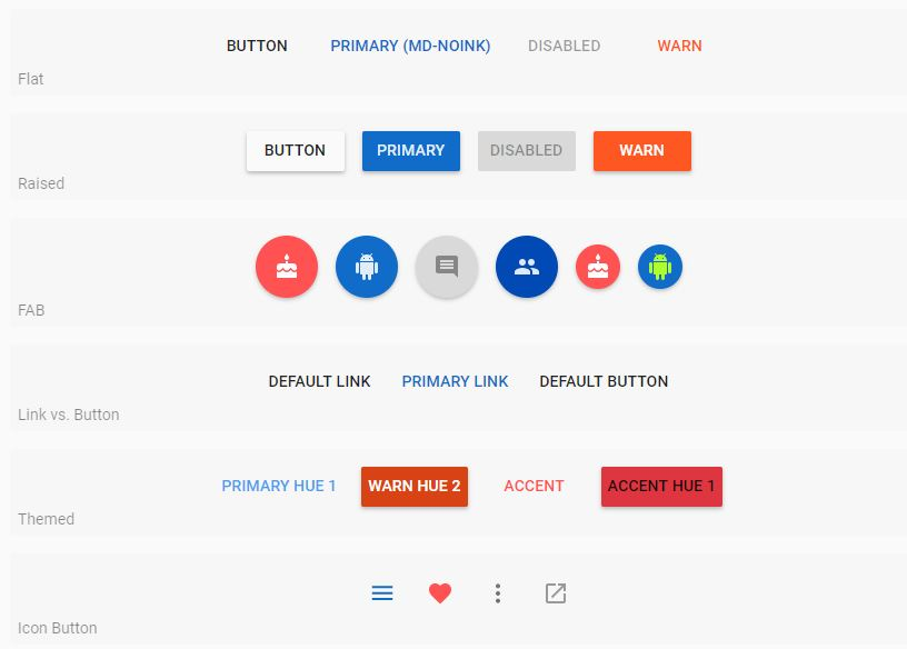 Angular 2 Material Buttons Examples - Official