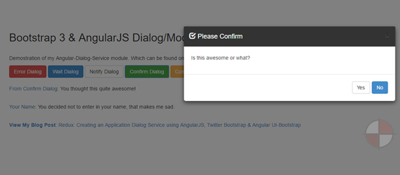 AngularJS and Bootstrap 3 Modal Demos