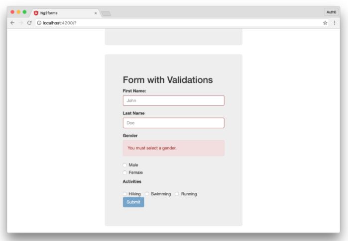 Angular 2 Form Validation