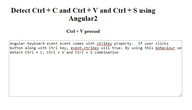 Detect CTRL+C in Angular 2